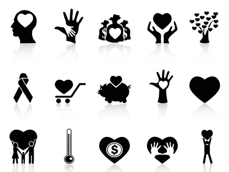 isolated black charity and donation icons on white background