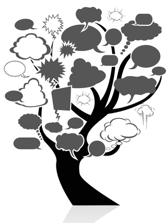 isolated the black tree with speech bubbles from white background Stock Vector - 15169429