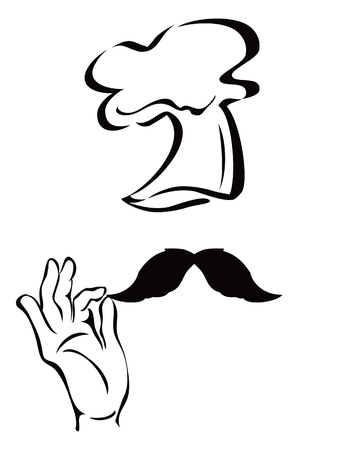 white moustache: the symbol of chef on white background