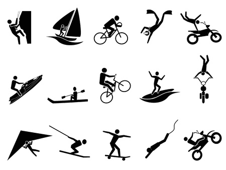 excite: isolated black extreme sports icon set on white background