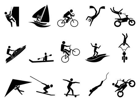 isolato nero icona degli sport estremi impostato su sfondo bianco Vettoriali