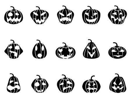 black halloween pumpkin icons set on white background Stock Vector - 15169430