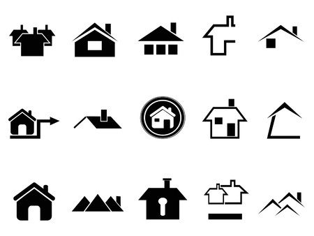 chimneys: the design of house symbol on white background