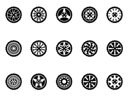 isolated black tire icons set on white background Illustration