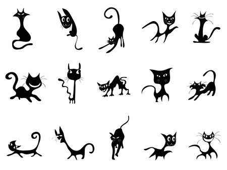 whiskers: several cute cartoon Black cats silhouettes for design