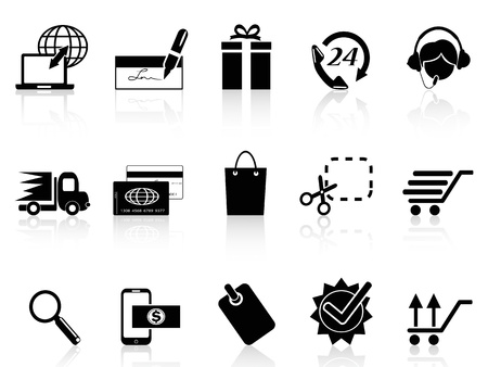 e store: isolated black e-commerce and shopping icon on white background Illustration