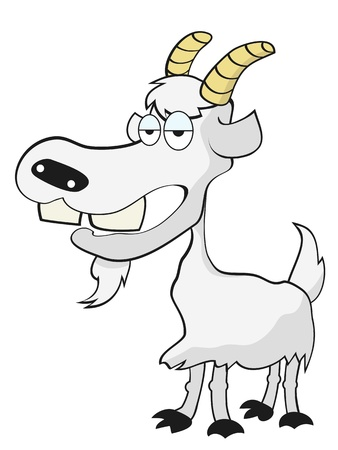 isolated the funny goat on white background Vector