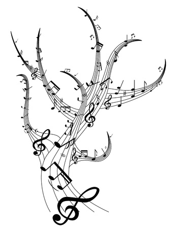 beautiful design of music note tree Vector