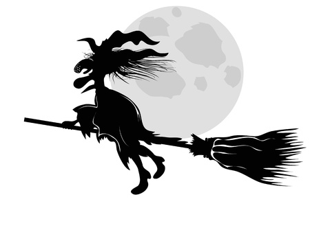broomstick: isolated the witch silhouette flying under moon