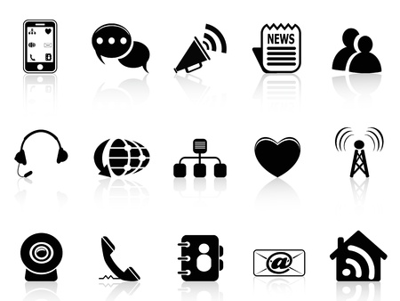 isolated Black Social Media icons set from white background Stock Vector - 15533985