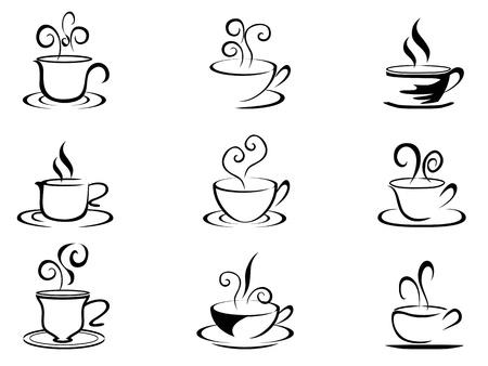 isolierte Tasse Kaffee Formen aus weißem Hintergrund Vektorgrafik
