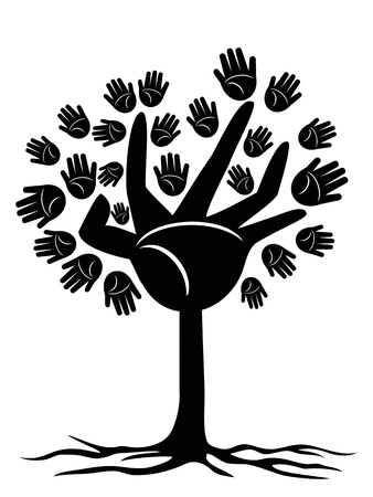 hand tree: a tree with hands shape and leaves