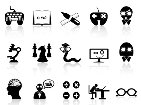 discovering: a set of black icon symbolizes nerds  Illustration