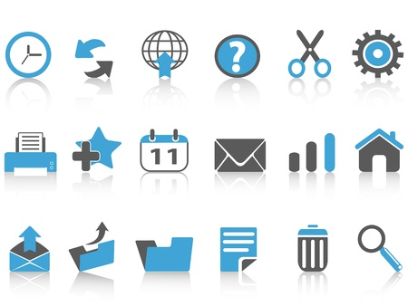 isolated toolbar icons set,blue series from white background Stock Vector - 15533980
