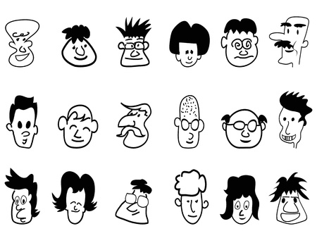 bald head: doodle crowd face icons drew on white background