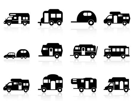 motorhome: isolato Caravan o camper simbolo su sfondo bianco Vettoriali