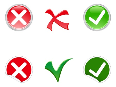 Tick and cross stickers, buttons, and symbols Vector