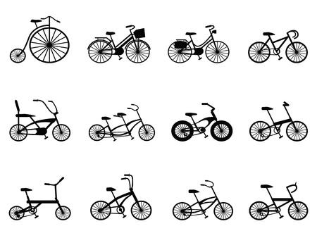 cycles: silhouettes isol�es d�finies � partir de bicyclettes fond blanc Illustration