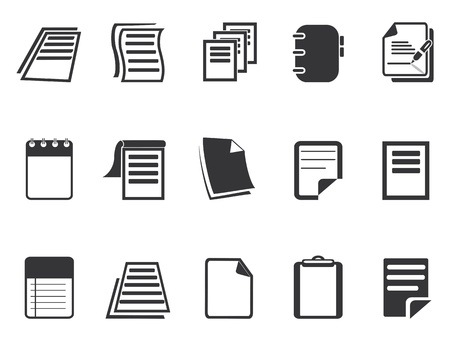 folio: isolated Document paper icons set from white background