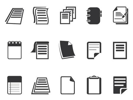 isolierten Document Papier Ikonen aus weißen Hintergrund Vektorgrafik