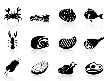 c�telette de porc: ic�nes de viande isol�s fix�s sur fond blanc Illustration