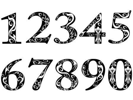 6 7: isolated pattern numbers on white background