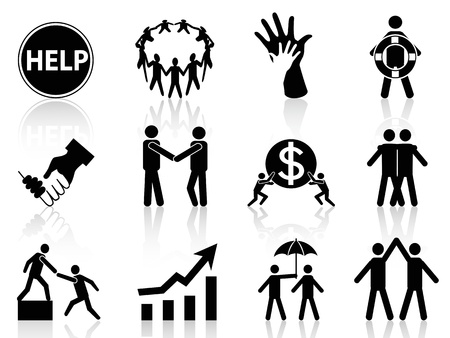 help button: the concept of business help icons