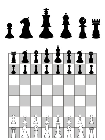bishop chess piece: the background of chess strategy Illustration