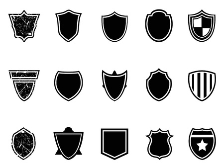 isolated black shield icons on white background Stock Vector - 16066217