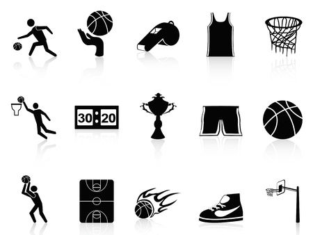 basketball ball on fire: isolated Basketball Icons set on white background