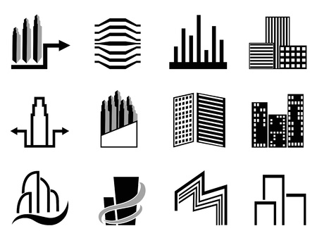 skyscrapers: the collection of Real estate and city buildings symbol on white background