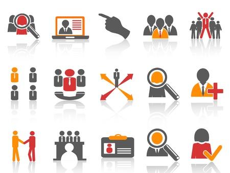 Job isolado e ícones de recursos humanos estabelecidos em fundo branco