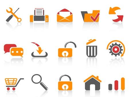e commerce icon: iconos aislados web y de Internet establecidos de fondo blanco