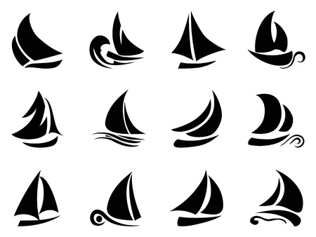 yacht race: the design of black sailboat symbol on white background