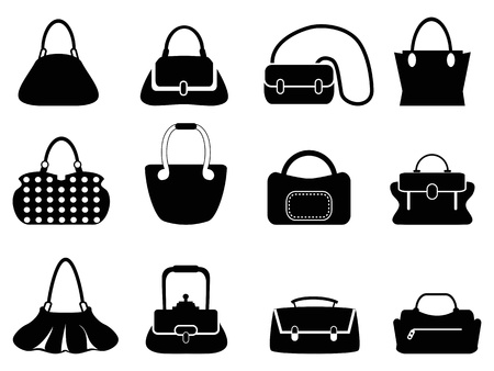 isolated black bags silhouettes from white background