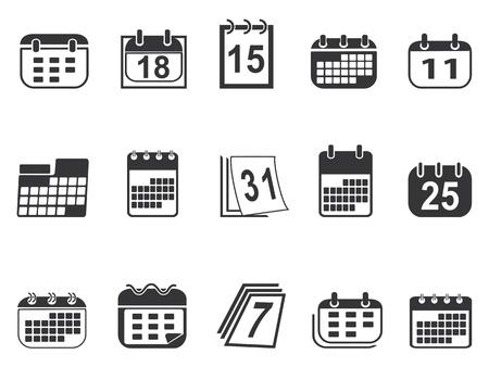 calendario: aislados simples iconos del calendario establecido de fondo blanco