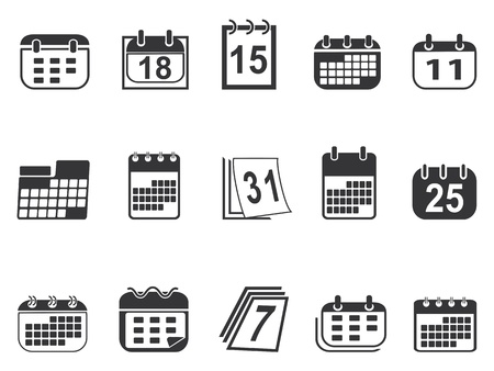 calendar day: isolated simple calendar icons set from white background