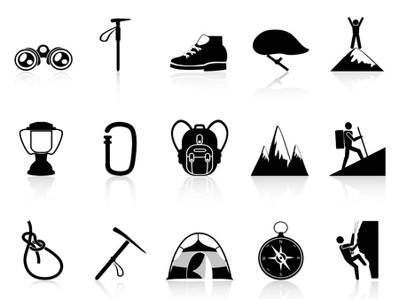 people hiking: isolated climbing mountain icons set on white background