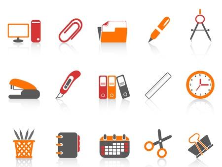 agrafeuse: isol� simple bureau couleur des outils ic�ne sur fond blanc