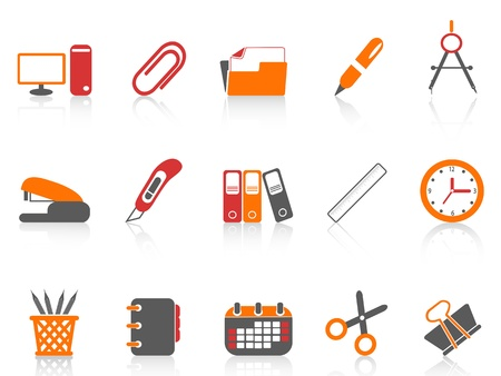 office stapler: isolated simple color office tools icon on white background