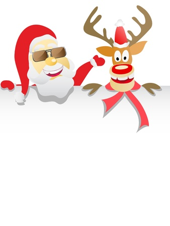 the background of Santa Clause and Reindeer Holding Blank paper sign Vector