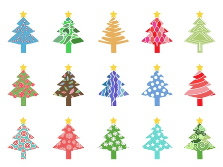 isolated simple color xmas tree icon on white background Vector