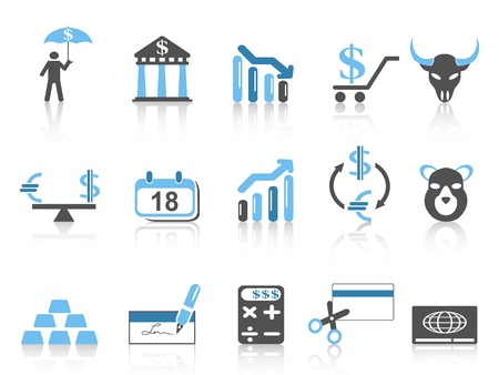 bull pen: isolated Business and Finance Icons set,blue series on white background Illustration