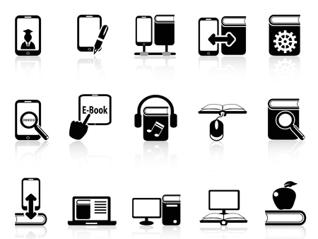 isolated digital books and e-books icons from white background