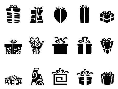 heart gift box: the collection of black gift box icons on white background Illustration