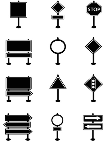 isolated simple traffic sign and road sign icons on white background Stock Vector - 16460048