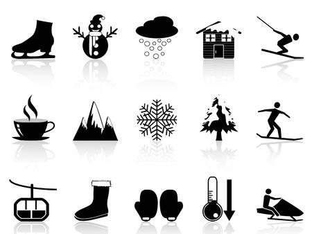 pictogramme: ic�nes d'hiver isol�es fix�es sur fond blanc