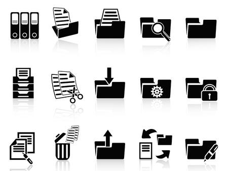 ring binder: isolated black folder icons set from white background