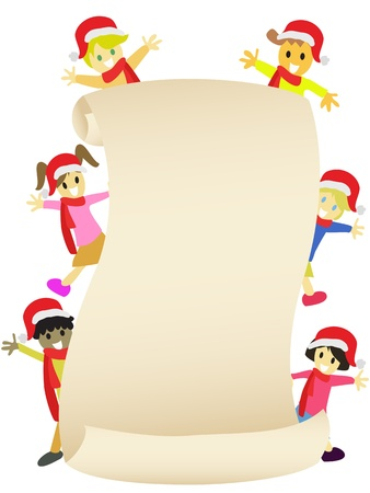 mixed race girl: Kids around the blank banner to celebrate Christmas coming