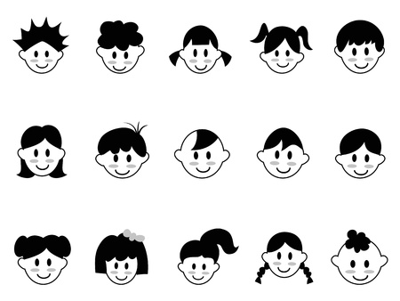 isolated kids head icons on white background Stock Illustratie